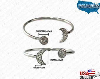DIAMOND Half Moon And Round DiscOpen Bangle Bracelet made with 925 Silver and Natural Diamonds,Diamond Findings, unique Bangle, Silver Color