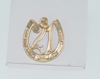 9ct yellow gold lucky 21 horseshoe charm