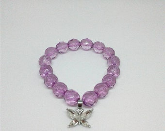 Purple Silver Butterfly Bracelet, Beadwork,Statements Piece, Lupus Warrior, Gift for Her.