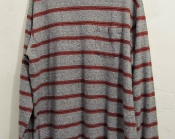 A Men's  Vintage 80's,Striped Long Sleeve Mock T NECK Top With Pocket By OAKTON Limited.L(Tall)