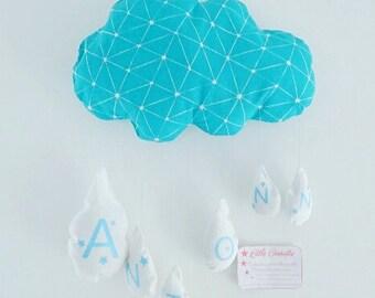 Coussin nuage et ses gouttes tissu personnalisable