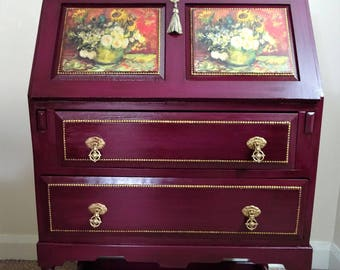 Stunning Van Gogh Inspired 1930's Edwardian Oak Bureau / Decoupage