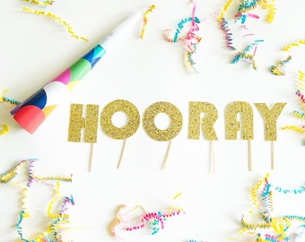 HOORAY Cake Topper, for Baby Shower, Gender Reveal Party, Bridal Shower, Glitter Party Decorations, Dessert Table Display, New Job Promotion