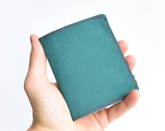 Cordura Vegan Wallet. Mens Bifold Wallet. Slim Wallet. Thin Wallet. Minimalist. Upcycled Wallet. Dark Green