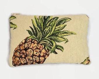 flat pouch big pineapple fabric ecru jacquard fabric
