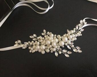 Wedding Hair Accessories, Ivory Bridal Headband, Wedding Headpiece,  Pearl, Rhinestone