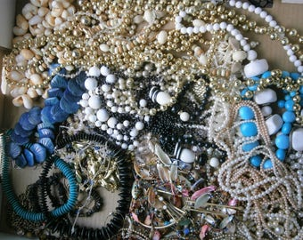 Large Collection of Vintage Costume Jewelry Necklaces