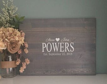 Rustic Wedding Guest Book Alternative /Family Name Design/ Painted Rustic Wedding Decor Wood Guest Book Country Wedding Gift Guestbook
