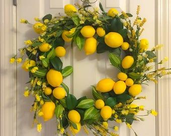 Lemon Wreath | Summer Wreath | Lemon Kitchen Wreath | Lemon Door Wreath | Dining Room Wreath