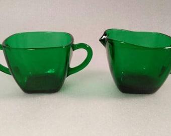 Vintage Anchor Hocking Emerald Green Glass Cream and Sugar Dish Set