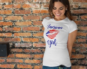 American Girl Shirt, Women's Fourth of July Shirt, USA Shirt