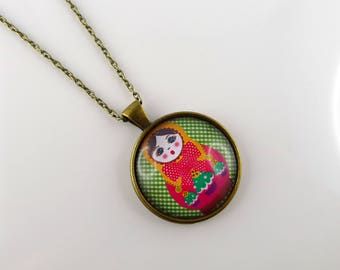 Doll Russian gingham vintage long bronze necklace cabochon
