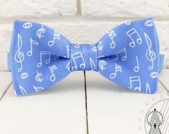 Musical Bow tie, Notes bowtie, Blue and white, Men's bow tie, Women's bow tie, Children's bow tie