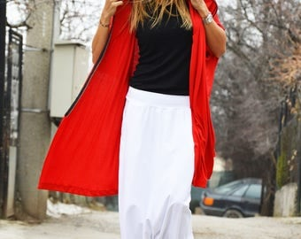 Maxi Red Hooded, Asymmetric Long Top, Extravagant Cotton Sweatshirt, Oversize Zipper Top, Loose Tunic by SSDfashion