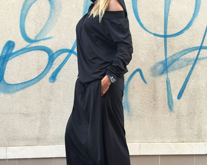 Maxi Black Hooded Jumpsuit, Loose Cotton Jumpsuit, Extravagant Drop Crotch, Extra Long Sleeves by SSDfashion