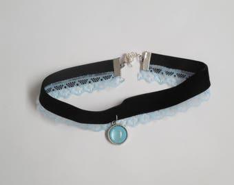 Velvet lace choker necklace blue black handmade