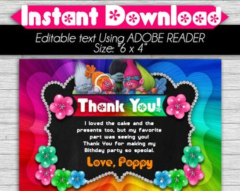 50% OFF SALE Thank you Card Trolls - Editable Text, Instant download, PDF
