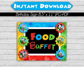 50% OFF SALE Mickey Mouse Clubhouse Birthday Party Sign, Food Buffet, 8.5 x 11 INSTANT Download