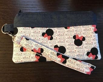 Minnie Mouse Disney Wristlet, Pencil Case, Bag