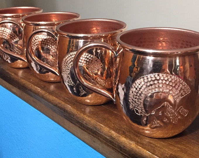 4-pack of 18oz Moscow Mule Hammered Copper Barrel Mug with Colorado C and Mountains logo