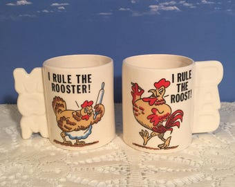Mom & Dad vintage Rooster mugs I rule the roost, I rule the rooster Awesome collectible mug pair bright colourful graphics fun display pair