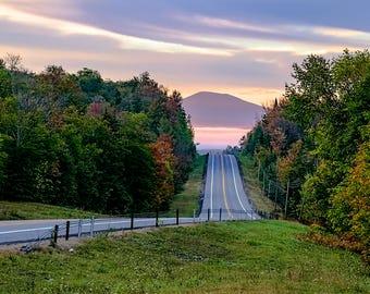 Adirondack Highway, Adirondack Road, Early Morning, Adirondack Dawn, Driving in the Adirondacks, Adirondack Mountains, Adirondack Photograph