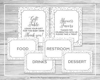 White and Silver Baby Shower Table Signs - Printable Baby Shower Table Signs - White and Silver Baby Shower - Table Signs - EDITABLE - SP154