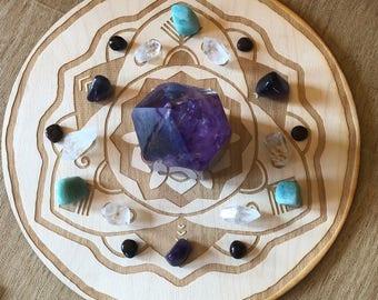 Mandala Crystal Grid #10 - 3, 6, 9  or 12 Inches - Wooden Crystal Grid - Sacred Geometry
