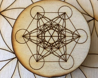 Metatron's Cube Sacred Geometry Wood Magnet - 2 inches