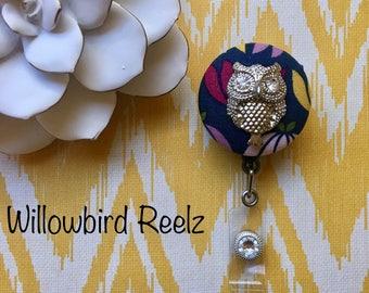 Silver Owl on Floral -Nurse Retractable ID Badge Reel/ RN Badge Holder/Doctor Badge Reel/Nurse Badge Holder/Nursing Student Gifts