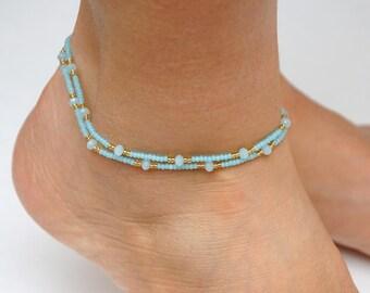 Bohemian Anklet Boho Anklet womens Anklet Mint crystal Anklet Foot Bracelet Beaded anklet Beach anklet Girlfriend Gift for Womens bracelet