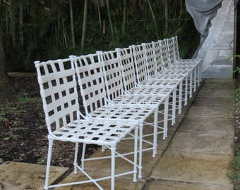 Signed Set Of Ten Mid Century Modern Faux Bamboo Patio Chairs, By Brown  Jordan