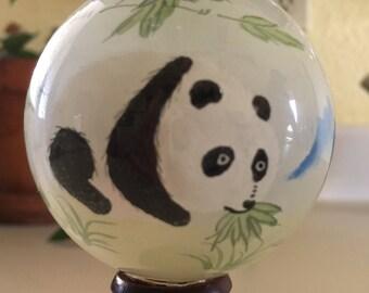 Reverse Handpainted  Panda Bear Glass Sphere