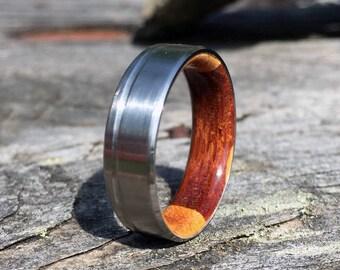 Titanium Ring, Wood Ring, Wood Inlay Ring, Mens Ring, Womens Ring, Wood Wedding Ring, Engagement Ring, Custom Made Ring, Wedding Ring