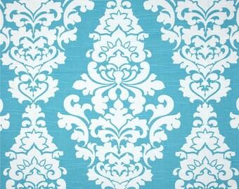 Coastal Blue Berlin Aqua Damask Floral Slub Nautical by Premier Prints Fabric Cut Yardage