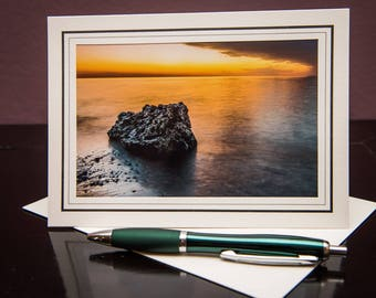 Yellow Sunset-Greeting Card-Note Card-Travel-Home Office Decor-Matted Art Print-Gift-Photo-Art-Nature-Rock-Lake-Michigan-Water-Sky-Beautiful