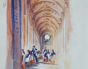 Original watercolor of the Café Marly at the Louvre Museum, Paris