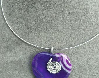 Agate onyx heart necklace