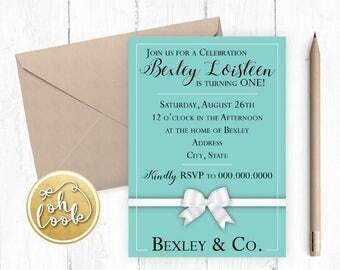 Tiffany & Co. Invitation / First Birthday / Tiffany Blue / Audrey / DIY / Printable / Digital Invitation Printable / Tiffany / DIGITAL / One