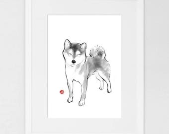 Shiba in a Sunny day (Large) Art Poster Japanese Dog Sumi-e Painting Ink Zen Print Drawing Dog Lover Wall Deco Pet Brush illustration B&W