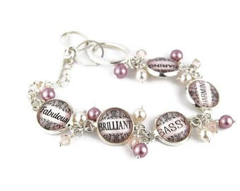Pink Inspirational Word Charm Bracelet with Pearls and Crystals
