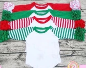 Toddler girls Christmas/ valentine colors ruffled raglan shirt, In STOCK Ready to ship !!! .Can be Monogrammed Red, Green