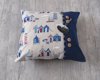 "Nautical Pillow cover 40x40 cm (16""x16""), Handmade Cushion, Marine decor, Lighthouse in handmade, house warming, gift, throw pillow"