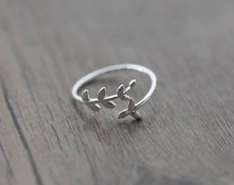 Ring Leaf Ring Dainty Ring Silver Ring Thin Ring Adjustable Ring Small Leaf  Ring Jewelry Leaf Ring Twisted Ring Dainty Ring Dainty Ring