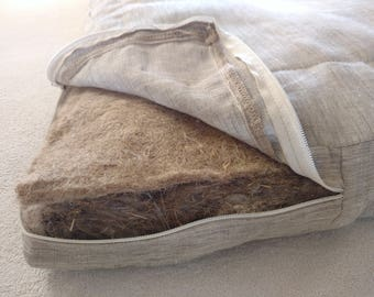 Special order. All flax mattress 160x200x7,5 cm, 160x200x10 cm, King 76x80x2 inches, covered natural linen