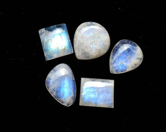 50 Cts Natural Blue Fire/Flash Rainbow Moonstone Gemstone  Cabochon 5 Pieces Multi Shape White Rainbow Moonstone Wholesale Lots R10357