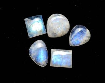 50 Cts Natural Blue Fire/Flash Rainbow Moonstone Gemstone  Cabochon 5 Pieces Multi Shape White Rainbow Moonstone Wholesale Lots R10357