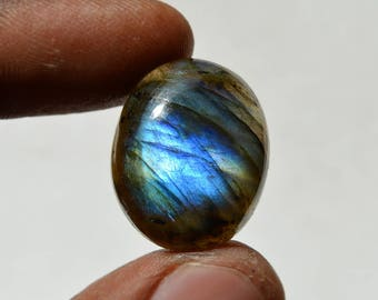 29 Cts Natural Blue Fire Labradorite Cabochon Both Side Polished Oval Shape Labradorite Loose Gemstone 23x19x8 MM R12471