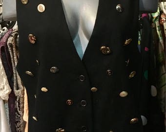 1990' black wool vest, with gold buttons. Size M.