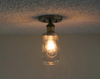 Antique brass finish Ball brand quart  mason Jar ceiling light
